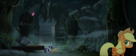 Pinkie pops up behind a Hippogriff structure MLPTM
