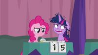 Pinkie sad; Twilight laughs nervously S9E16