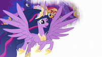 Princess Twilight flying over a white screen S9E26