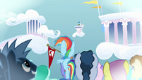 Rainbow Dash and the audience listening to the result S03E12