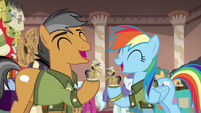 Rainbow and Quibble laughing over their gifts S6E13