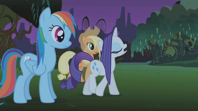 File:Rarity calls Rainbow Dash and Applejack insensitive S1E02.png