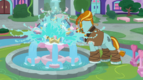 Rockhoof smashes the water fountain S8E21