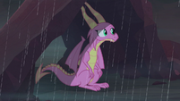 Scales sitting in the Dragon Lands rain S8E16