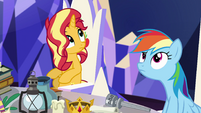 Sunset and Rainbow listen for Pinkie's scream EGSB