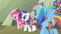 The ponies hauling gems back to Ponyville S1E19