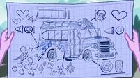 Twilight's blueprints of the Rainbooms' tour bus SS13