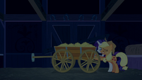 Applejack and Rarity seal door with hay cart S6E15