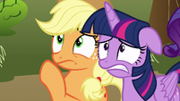 Applejack and Twilight look worried S9E13