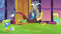 Discord hovers over the pool of slime S5E7