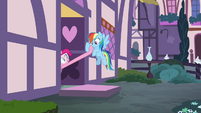 Pinkie Pie pulling Rainbow in S4E18