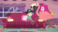 Pinkie runs around house in flamingo costume EGDS3