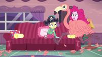Pinkie runs around house in flamingo costume EGDS3