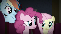 RD, Pinkie, and Fluttershy look at each other S9E6