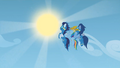 Rainbow Dash flies off with Soarin and another Wonderbolt S1E16.png