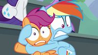 Rainbow Dash holding Scootaloo tightly S8E20
