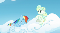 Rainbow Dash sitting on Vapor's cloud S6E24