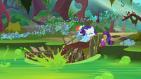 Rainbow and Rarity push raft into the swamp S8E17