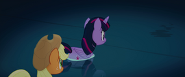 Twilight and Applejack wade into the water MLPTM