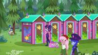 Twilight and Spike outside public restrooms CYOE16b