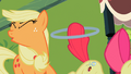 Apple Bloom hitting Applejack with her hoop 2 S2E6.png