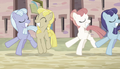 Equal ponies dancing out of sync S5E1.png