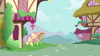 Fluttershy and Tree Hugger walking together S5E7