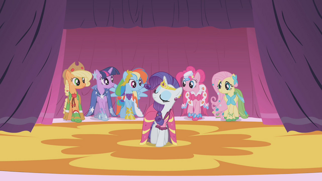 File:Main 6 ponies showing off in the better dresses S1E14.png
