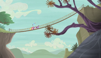 Mane 6 walking on rope bridge S5E01