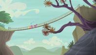 Mane 6 walking on rope bridge S5E01