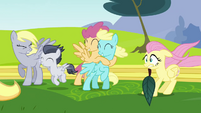 Pegasi blown by Rainbow Dash's wingpower S2E22