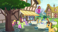 Ponies outside the Ponyville Cafe S7E3