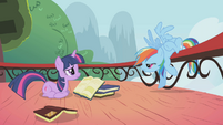 Rainbow Dash bent over rail S1E04