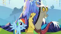 Rainbow and Discord greet Spike S5E22