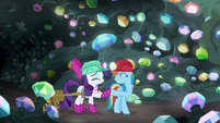 Rarity and Rainbow Dash hoof-bump S8E17
