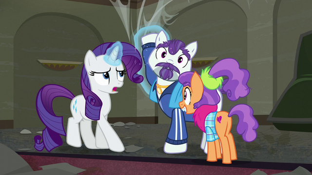 File:Rarity levitates Mr. Stripes's hoof off of her S6E9.png