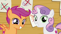 Scootaloo and Sweetie Belle are smiling S6E4