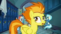 Spitfire crossing in front of Rainbow and Misty S6E24