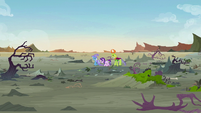 Starlight, Trixie, and Thorax alone in the Badlands S7E17