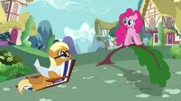 Sunbathing Apple Cobbler helped by Pinkie Pie S2E18
