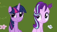 Twilight and Starlight eavesdrop on brunch ponies S7E14
