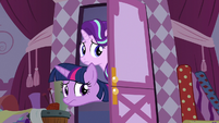 Twilight and Starlight worried about Rarity S7E14
