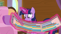 Twilight pointing to bingo on the schedule S7E22