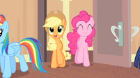 Applejack and Pinkie enters the room S4E08