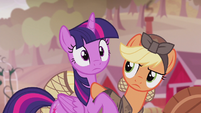 Applejack shoves Twilight off of her S5E25