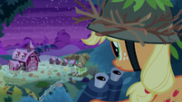 Applejack staking out Sweet Apple Acres S9E10