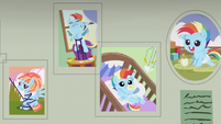 Baby pictures of Rainbow Dash on the wall S7E7