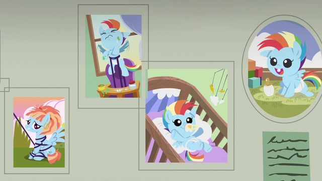 File:Baby pictures of Rainbow Dash on the wall S7E7.png