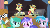 Flim, Flam, Silver Shill and other ponies hear Granny S4E20