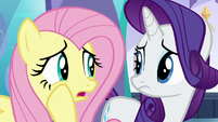 Fluttershy whispering --that's not very reassuring-- S6E1